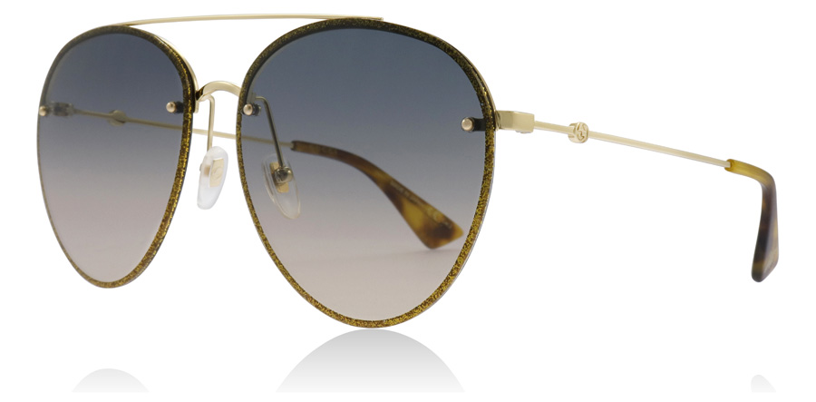 Gucci GG0351S Sonnenbrille Gold / Blau 003 62mm SZTVIcY