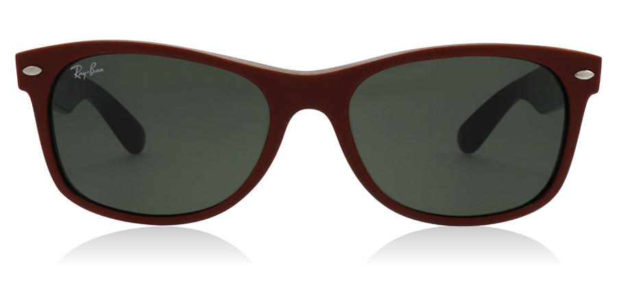 Ray-Ban New Wayfarer RB2132 Rubber Red / Black 646631 55mm